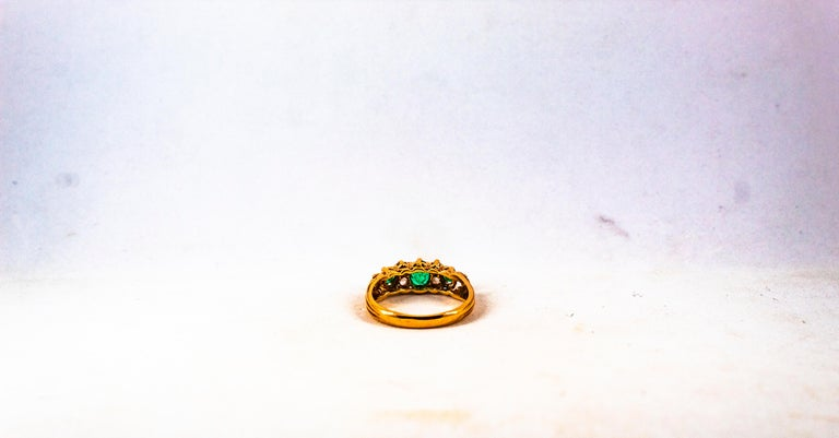 Art Deco Style 0.75 Carat White Rose Cut Diamond Emerald Yellow Gold Band Ring For Sale 11