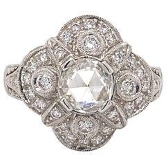 Art Deco Style 0.85ct Rose Cut Diamond 18k White Gold Ring