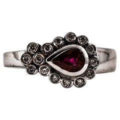 Art Deco Style 0.88 Carat White Diamond Pear Cut Ruby White Gold Cocktail Ring