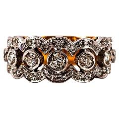 Art Deco Style 0.90 Carat White Old European Cut Diamond Yellow Gold Band Ring