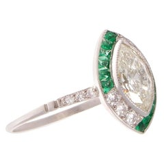 Art Deco Style 1 Carat Marquise Unique Diamond Emerald Platinum Engagement Ring