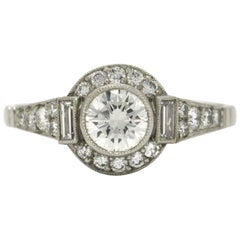 Art Deco Style 1 Carat Round Diamond GIA Certified Platinum Halo Engagement Ring