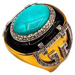 Art Deco Style 1.00 Carat White Diamond Turquoise Onyx Yellow Gold Cocktail Ring