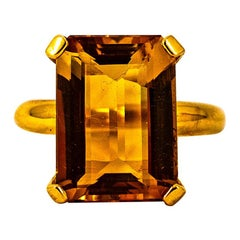 Art Deco Style 10.00 Carat Emerald Cut Citrine Yellow Gold Cocktail Ring