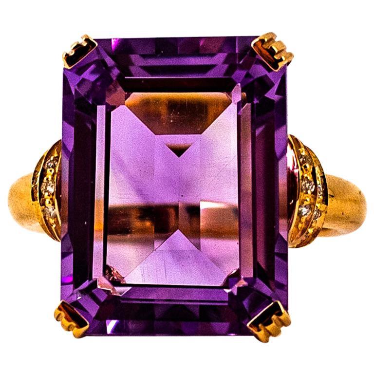 Art Deco Style 10.07 Carat White Diamond Amethyst Yellow Gold Cocktail Ring