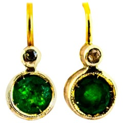 Art Deco Style 1.02 Carat Emerald White Diamond Yellow Gold Lever-Back Earrings