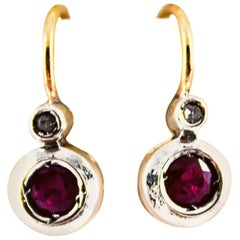 Art Deco Style 1.02 Carat Ruby White Diamond Yellow Gold Lever-Back Earrings