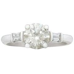 Art Deco Stil 1,05 Karat Diamant und Platin Solitaire Verlobungsring