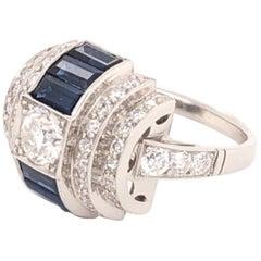 Art Deco Style 1.10 Carat Baguette Sapphire Diamond Platinum Ring