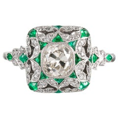 Art Deco Style 1.12 Carat Old Mine Cut Diamond and Emerald Ring