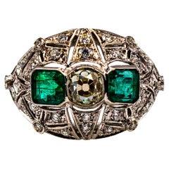 Art Deco Style 1.15 Carat White Diamond 1.27 Carat Emerald White Gold Ring