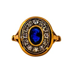 Art Deco Style 1.15 Carat White Diamond Blue Sapphire Yellow Gold Cocktail Ring