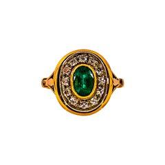 Art Deco Style 1.15 Carat White Diamond Emerald Yellow Gold Cocktail Ring