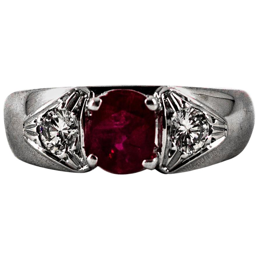 Art Deco Style 1.15 Carat White Diamond Oval Cut Ruby White Gold Cocktail Ring