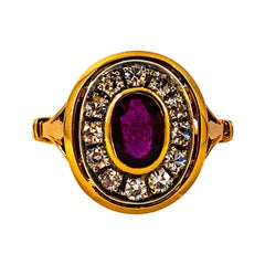 Art Deco Style 1.15 Carat White Diamond Oval Cut Ruby Yellow Gold Cocktail Ring