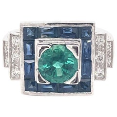 Art Deco Style 1.19 Carat Emerald with Sapphires & Diamonds Ring 18k White Gold