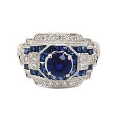 Art Deco Style 1.20ct Round Sapphire with Diamond Ring 18 Karat White Gold