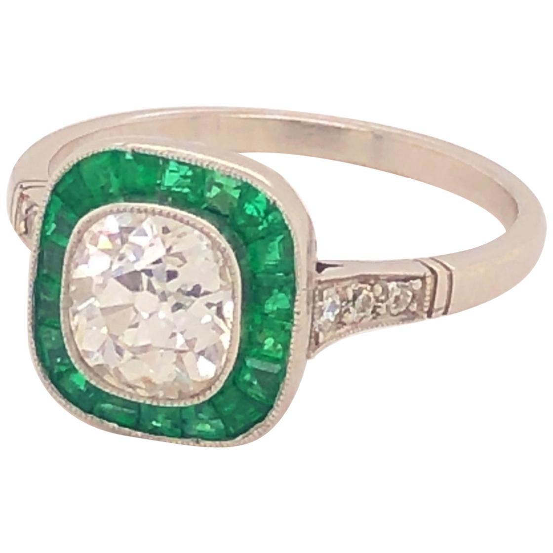 Art Deco Style 1.22 Old Mine Cushion Cut Diamond Emeralds Platinum Ring