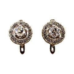 Art Deco Style 1.23 Carat White Diamond White Gold Handcraft Lever-Back Earrings