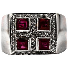 Art Deco Style 1.26 Carat White Diamond Carré Cut Ruby White Gold Cocktail Ring