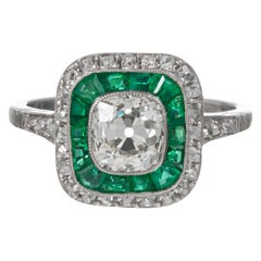 Art Deco Style 1.31 Carat Old Mine Cut Diamond and Emerald Ring