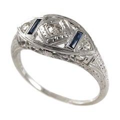 14 Karat White Gold Diamond Sapphire Ring