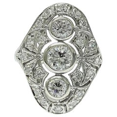 Art Deco Style 14 Karat White Gold Diamond Cocktail Ring