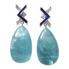 Art Deco Style 14 Kt Gold Diamonds Blue Enamel Natural Aquamarine Drop Earrings