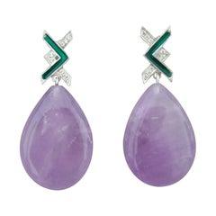 Art Deco Style 14 Kt Gold Diamonds Green Enamel Natural Amethyst Drop Earrings