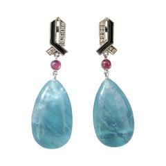 Art Deco Style 14 Kt Gold Diamonds Ruby Enamel Natural Aquamarine Drop Earrings
