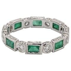 Art Deco Style 1.42ctt Emerald & Diamond Eternity Band 18k White Gold
