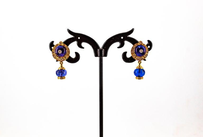 Art Deco Style 14.45 Carat White Diamond Tanzanite Yellow Gold Dangle Earrings For Sale 5