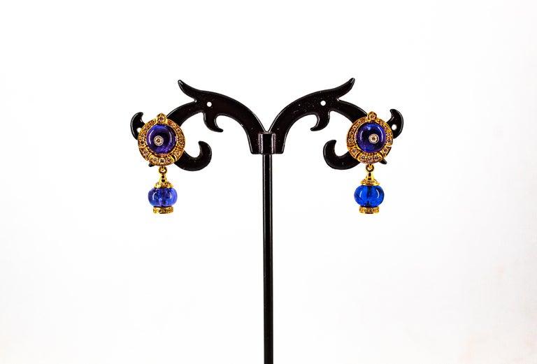 Art Deco Style 14.45 Carat White Diamond Tanzanite Yellow Gold Dangle Earrings For Sale 6
