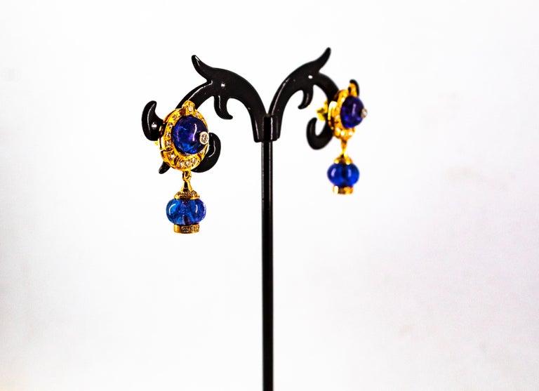 Art Deco Style 14.45 Carat White Diamond Tanzanite Yellow Gold Dangle Earrings For Sale 7