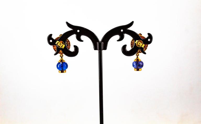 Art Deco Style 14.45 Carat White Diamond Tanzanite Yellow Gold Dangle Earrings For Sale 8