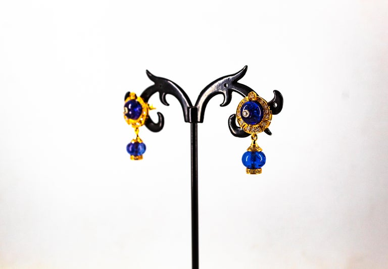 Art Deco Style 14.45 Carat White Diamond Tanzanite Yellow Gold Dangle Earrings For Sale 9