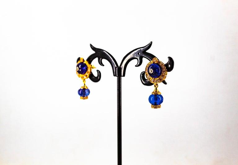 Art Deco Style 14.45 Carat White Diamond Tanzanite Yellow Gold Dangle Earrings For Sale 10