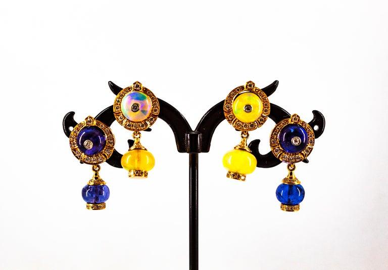 Art Deco Style 14.45 Carat White Diamond Tanzanite Yellow Gold Dangle Earrings For Sale 11