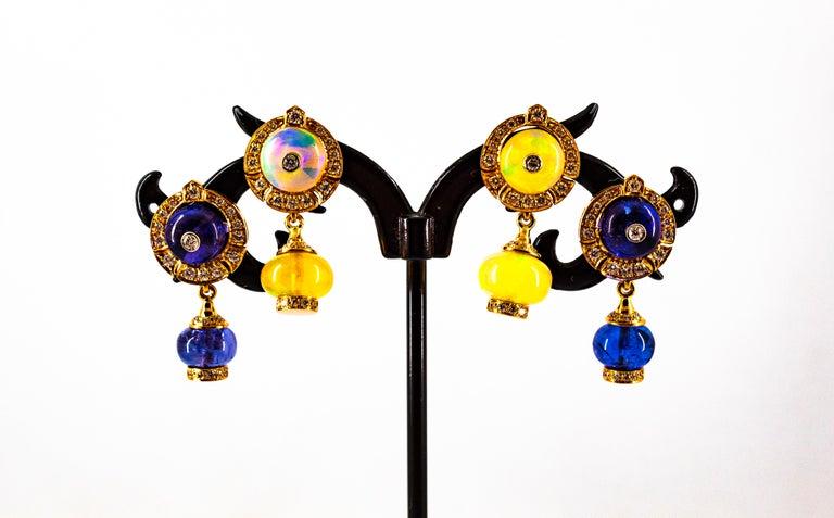 Art Deco Style 14.45 Carat White Diamond Tanzanite Yellow Gold Dangle Earrings For Sale 12