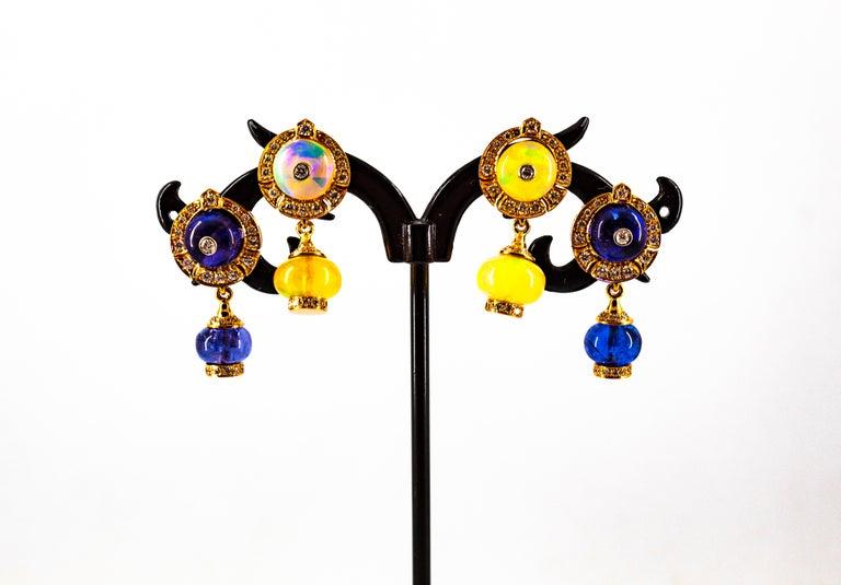 Art Deco Style 14.45 Carat White Diamond Tanzanite Yellow Gold Dangle Earrings For Sale 13