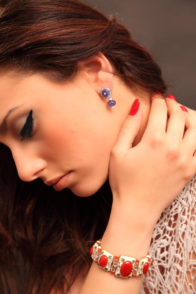 Art Deco Style 14.45 Carat White Diamond Tanzanite Yellow Gold Dangle Earrings For Sale 14