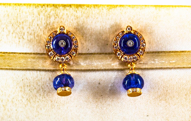 Brilliant Cut Art Deco Style 14.45 Carat White Diamond Tanzanite Yellow Gold Dangle Earrings For Sale