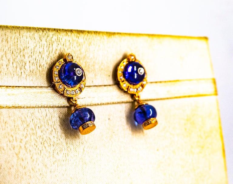 Women's or Men's Art Deco Style 14.45 Carat White Diamond Tanzanite Yellow Gold Dangle Earrings For Sale