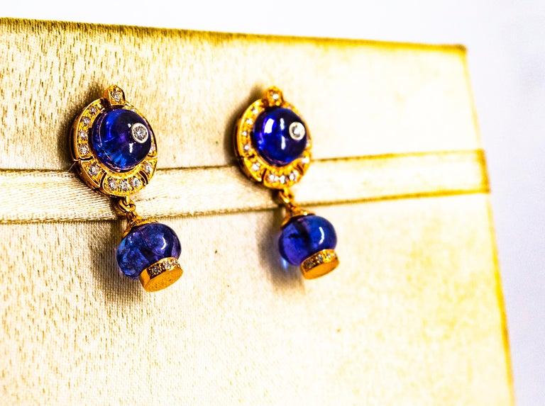 Art Deco Style 14.45 Carat White Diamond Tanzanite Yellow Gold Dangle Earrings For Sale 1