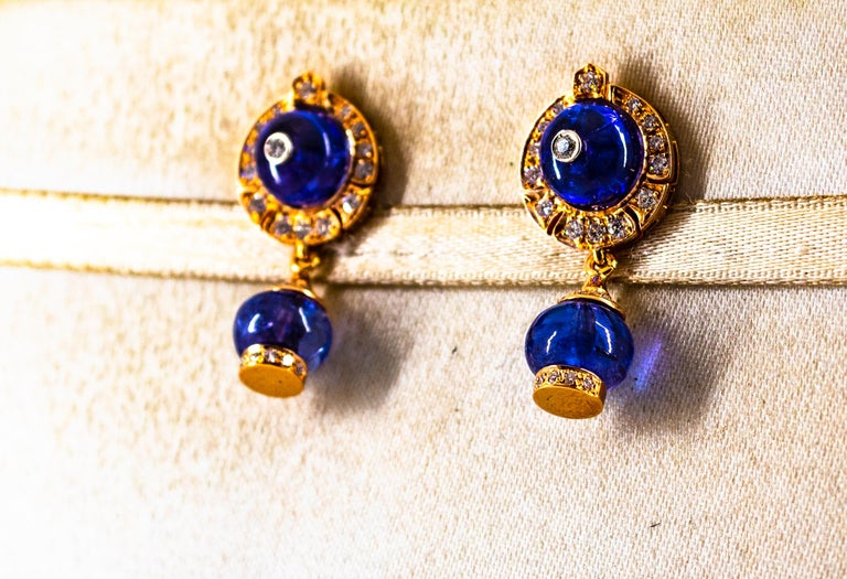 Art Deco Style 14.45 Carat White Diamond Tanzanite Yellow Gold Dangle Earrings For Sale 2