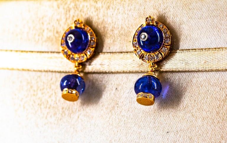 Art Deco Style 14.45 Carat White Diamond Tanzanite Yellow Gold Dangle Earrings For Sale 3