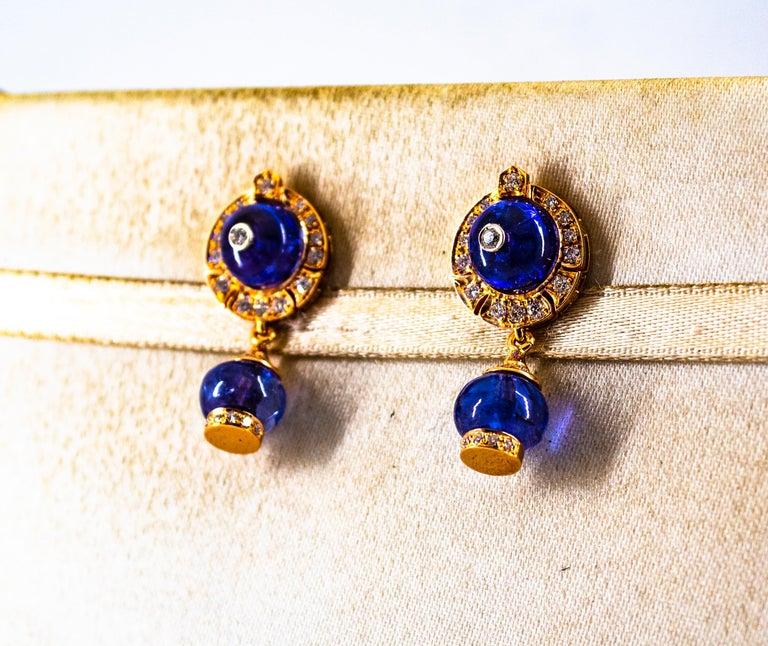 Art Deco Style 14.45 Carat White Diamond Tanzanite Yellow Gold Dangle Earrings For Sale 4