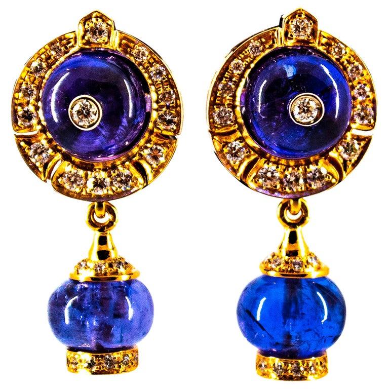 Art Deco Style 14.45 Carat White Diamond Tanzanite Yellow Gold Dangle Earrings For Sale