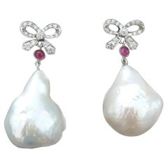 Art Deco Style 14k Gold And Diamonds Bows Rubies Baroque Pearls Dangle Earrings