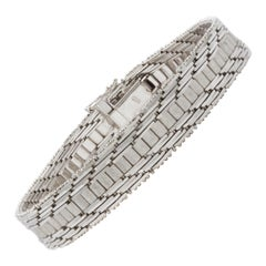 Art Deco Style 14k White Gold Flexible-Strap Bracelet
